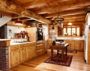 Cocina de una casa de madera