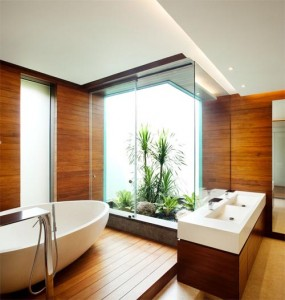 Cuarto de baño en cabañas de madera
